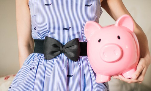 Lady In Stripped Dress With Piggy Bank 701801